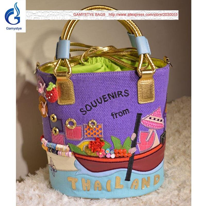 Thailand Woman S Souuenirs Style Cute Candy Color Canvas Round Messenger