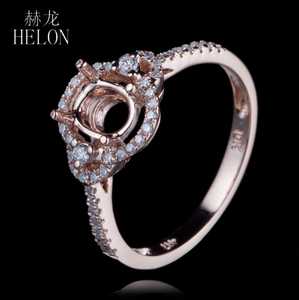 HELON Solid 10k Rose Gold Oval Cut 4.5x6mm Semi Mount Halo Pave Natural Diamonds Ring Engagement Wedding Women Fine Jewelry Ring helon pear cut 11x8mm solid 10k white gold pave natural diamonds semi mount wedding engagement elegant women s jewelry fine ring