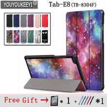 Painted Cover Case for Lenovo TAB E8 Tablet TB-8304 Slim Magnetic 2018 Released Tab TB-8304F + 2 Gifts