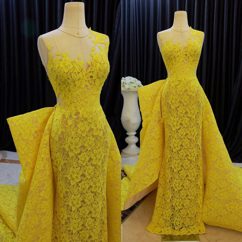 Yellow Muslim Evening Dresses 2019 Mermaid Cap Sleeves Lace Detachable Formal Dubai Saudi Arabic Long Evening