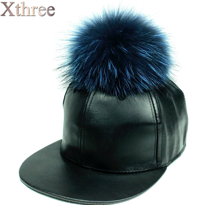 fashion PU leather baseball cap real mink pom poms fur ball hip hop hat caps bone snapback winter hats for women
