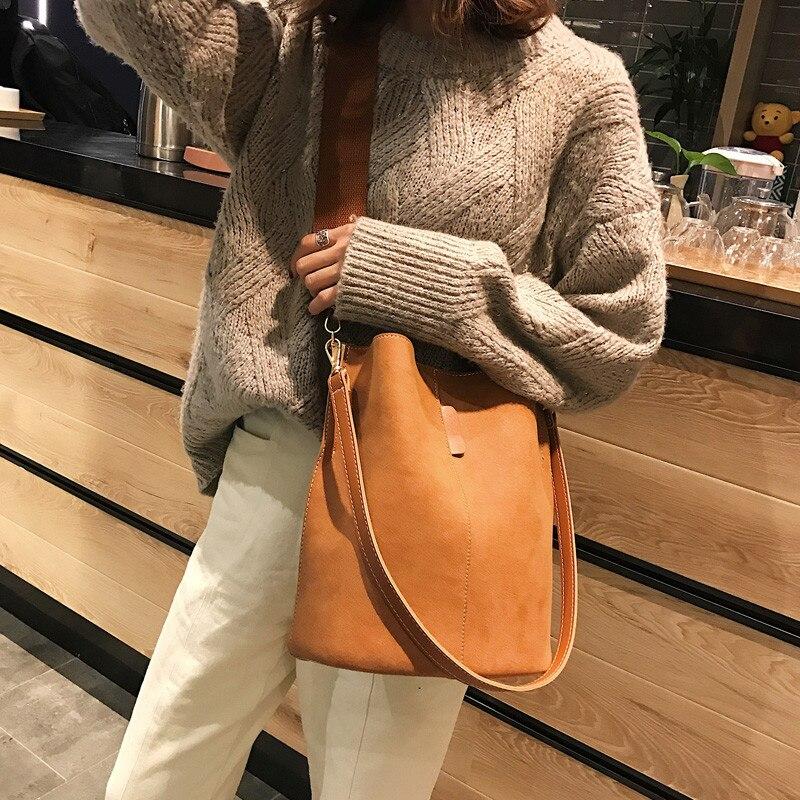 Messenger bag Women Bucket Shoulder Bag large capacity vintage Matte PU Leather lady handbag Luxury Designer bolsos mujer Black