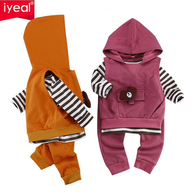IYEAL Newest 2018 Newborn Kid Toddler Girl Boy Clothing Sets Hooded Vest +Tops +Pants Fashion Spring Autumn Infant Baby Clothes woolen kintted newborns baby boy clothing sets spring autumn warm fashion outerwear toddler clothes suit infant baby cloth 2017