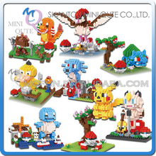 Full Set 8pcs Mini Qute BOB 3D Kawaii cartoon Pikachu Charmander Pidgeotto Meowt plastic building block figures educational toy