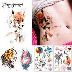 Новое поступление, 1 лист, временная татуировка, наклейка, KM-056, цветок, рука, боди-арт, водостойкая татуировка, красота, лиса, женская, кокетка,...