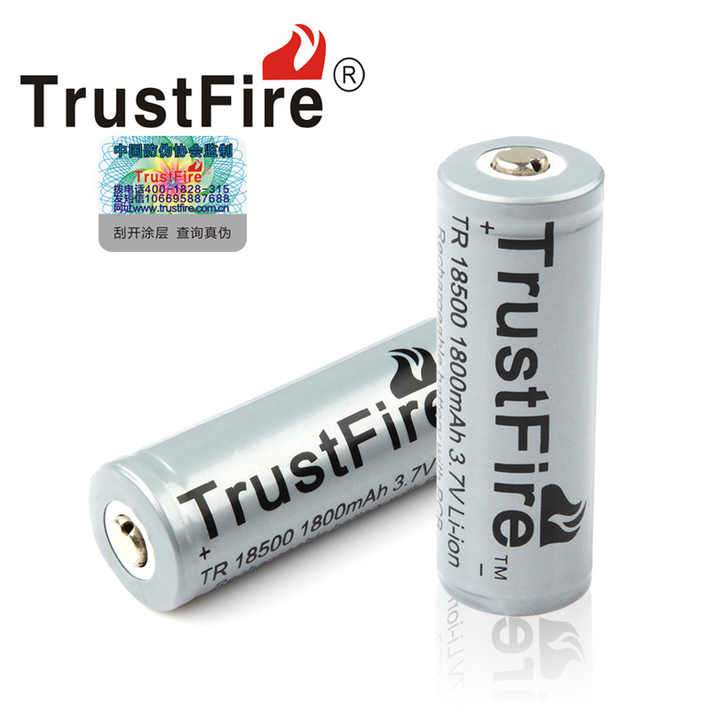 купить 2pcs/lot TrustFire TR 18500 1800mAh 3.7V Rechargeable Protected Battery Camera Flashlight Torch Batteries with PCB недорого