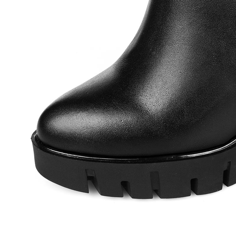 Pour Chaussures Femmes Classique Bottes Genou Haute Résistance Dérapage À Masgulahe Cuir Délicat Glissière Boucle Hiver Black Véritable En P7OanaBqwc