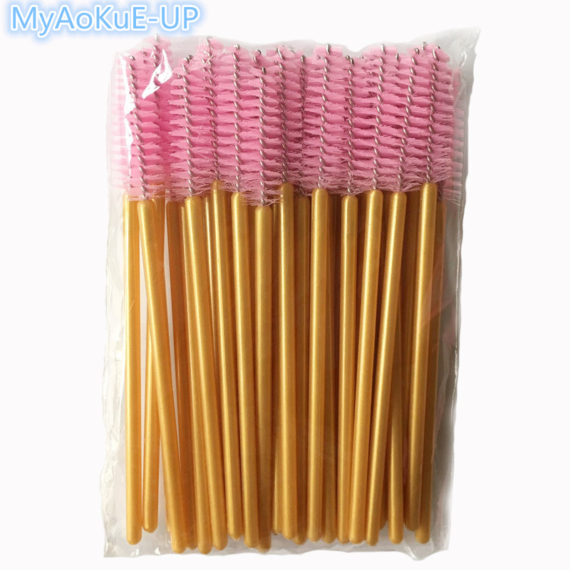 Golden Pink Brushes Nylon Material Eyelash Extension Mascara Wand Applicator 200pcs/lot Makeup Tools Disposable Brushes цена