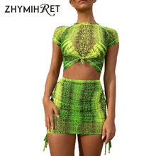 ZHYMIHRET Neon Snake Print Mesh Two Pieces Set Women Summer Dress Side Ruched Short Sleeve Skinny 2 Sexy Vestidos