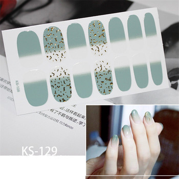14tips/sheet Glitter Nail Art Sticker Manicure Tips Full Cover Wraps Nail Foils DIY Adhesive Decals Valentines day Drop Shipping Маникюр