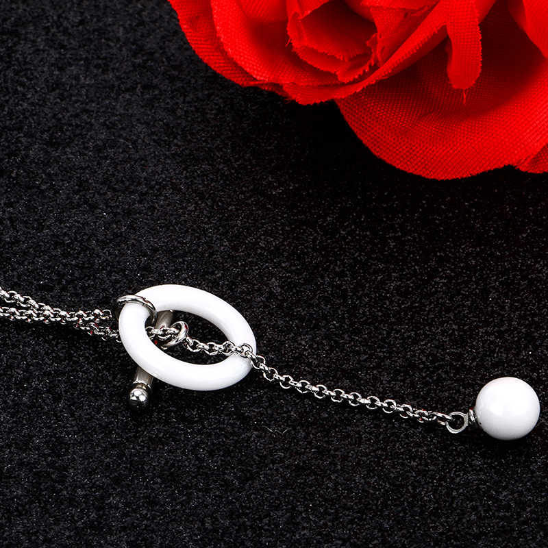 Nowa specjalna ceramiczne kobiety wisiorek naszyjnik srebrny kolor minimalistyczny prosty naszyjnik koło z barem długi naszyjnik bez zapięcia