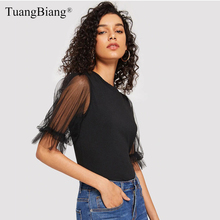 Lace splice Hollow Out Ladies 2019 Summer T Shirts Femme Half sleeve Puff Sleeve Sexy Tee Tops Women Round neck Black tshirts недорго, оригинальная цена