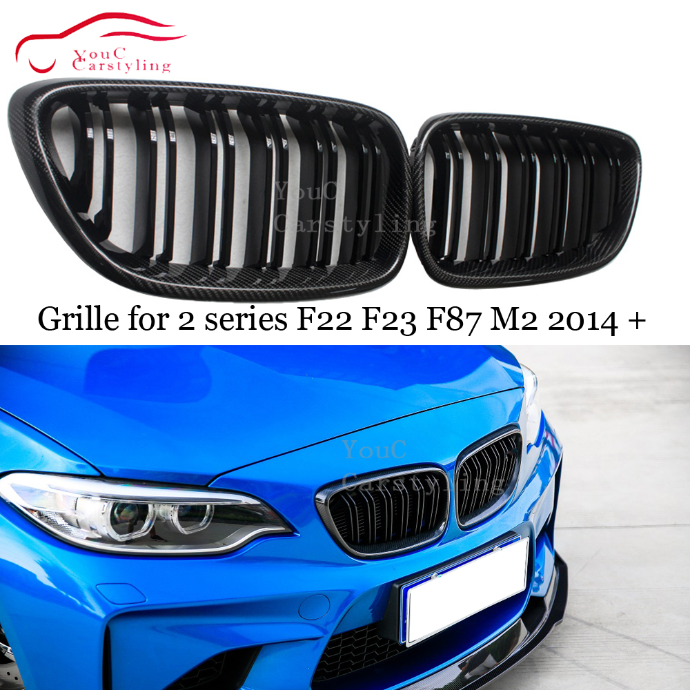 F22 ABS Carbon Fiber Front Bumper Grille for BMW 2 series F22 F23 F87 M2 220i 228i M235i M240i 2014 + Black Gloss M Color Grill image