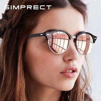 b77bd8de65 SIMPRECT 2019 gafas de sol polarizadas para mujer Retro redondo espejo  conducción gafas de sol para hombres marca diseñador Vintage Zonnebril Dames