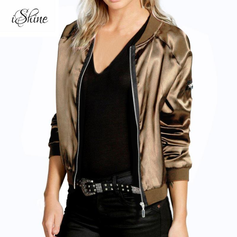 Fashion Lady Champagne Black Long-sleeved   Basic     Jackets   Zipper Hip Hop Style Bomber   Jackets   Women Cool Chaquetas Coaats 2018