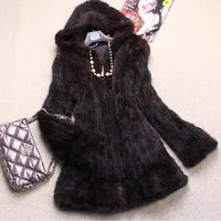 women genuine real knitted mink fur coat jacket with hoody full sleeve and lining long outwear warm autumn winter overcoat black