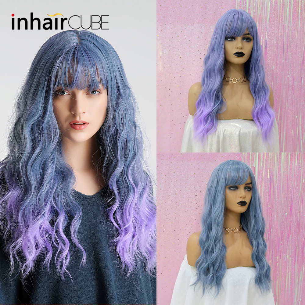 Inhair Cube Middle Part 22 Inches Ombre Long Wavy Heat Resistant Synthetic Kinky Simulation Scalp Cosplay For Women Synthetic Wigs Hair Extensions & Wigs
