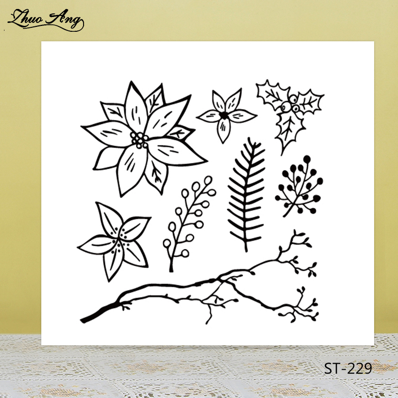 ZhuoAng Beautiful Flowers Leaves Clear Stamps For DIY Scrapbooking/Card Making/Album Decorative Silicon Stamp Crafts