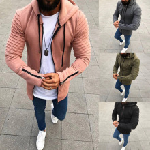 2018 Spring Summer Men s Solid Zip Hooded cardigan font b jacket b font men Coat