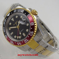 40mm Bliger Black Dial Golden Case Sapphire Glass GMT Date Automatic Mens Watch Oyster Bracelet