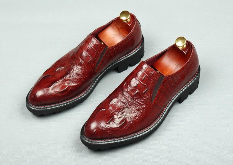Summer Robe Imprimé Véritable Alligator En as Croissante Chaussures Noir Glissent Hommes Oxfords Sur Cuir Casual forme Style La Pic Hauteur Smart Plate r5Uyqr