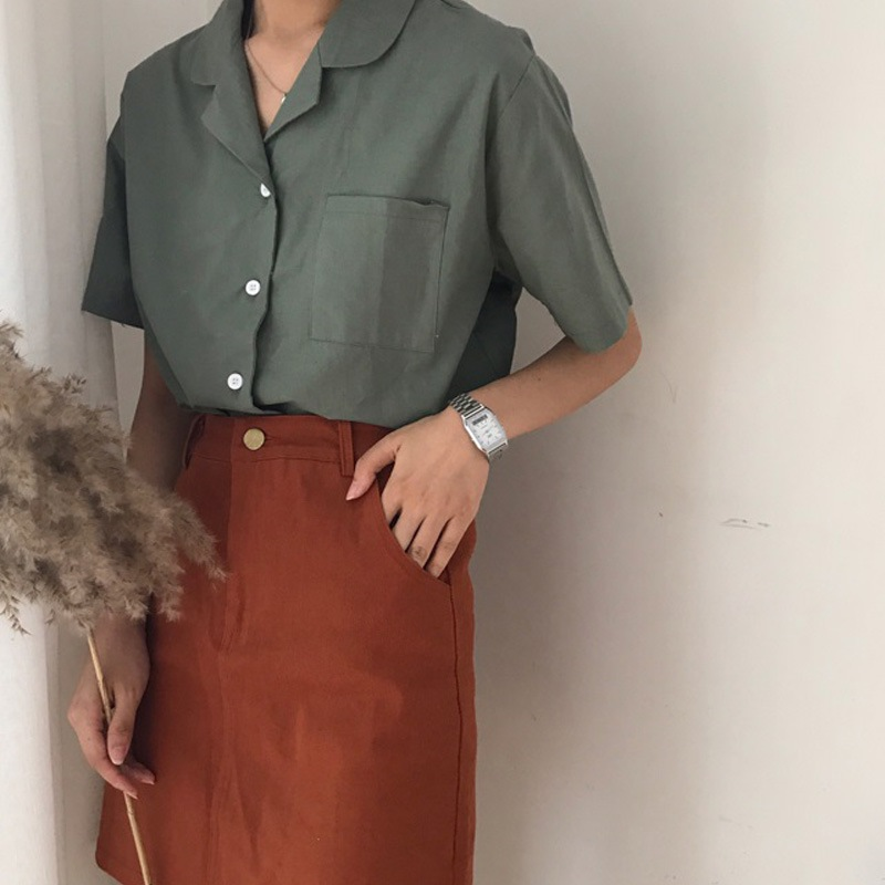 Women Summer Solid Color Shirt Retro Short Sleeve Suit Collar Small Lapel Shirt Loose Casual Blouse