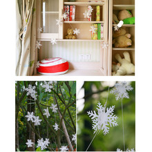 12 Pcs/String 3D Card Paper Christmas White Snowflake Ornaments
