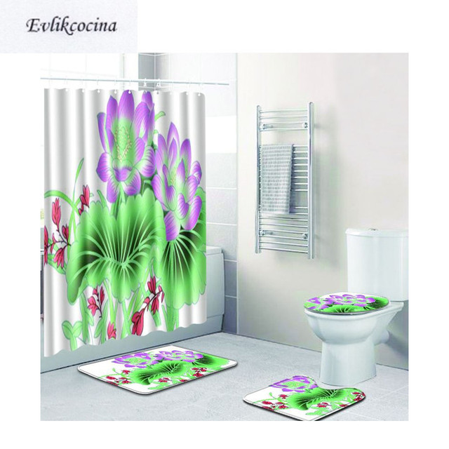 Charmant Free Shipping 4pcs Purple Green Leaves Flowers Banyo Bathroom Carpet Toilet  Bath Mats Set Pad Tapis Salle De Bain Alfombra Bano