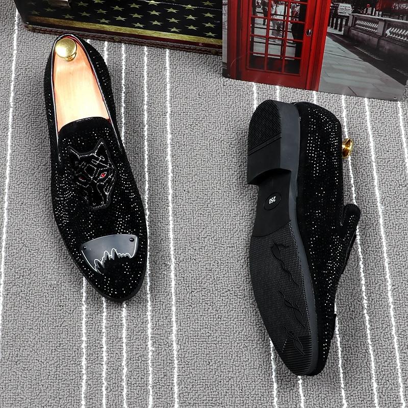 Casamento Strass Da De Preto Fundo Jozigbema Formal Vermelho Mocassins Homens Apontou Couro Luxo Sapatos 2019 Homem Festa WwRwOYfnq