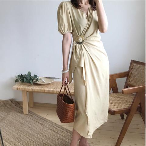 Vestido de Uma Lanmrem Verão Nova Moda Casual Temperamento Feminino Solto Fold Vestidos Cor Sólida Puff Manga Dividir Peça Tc383 2020