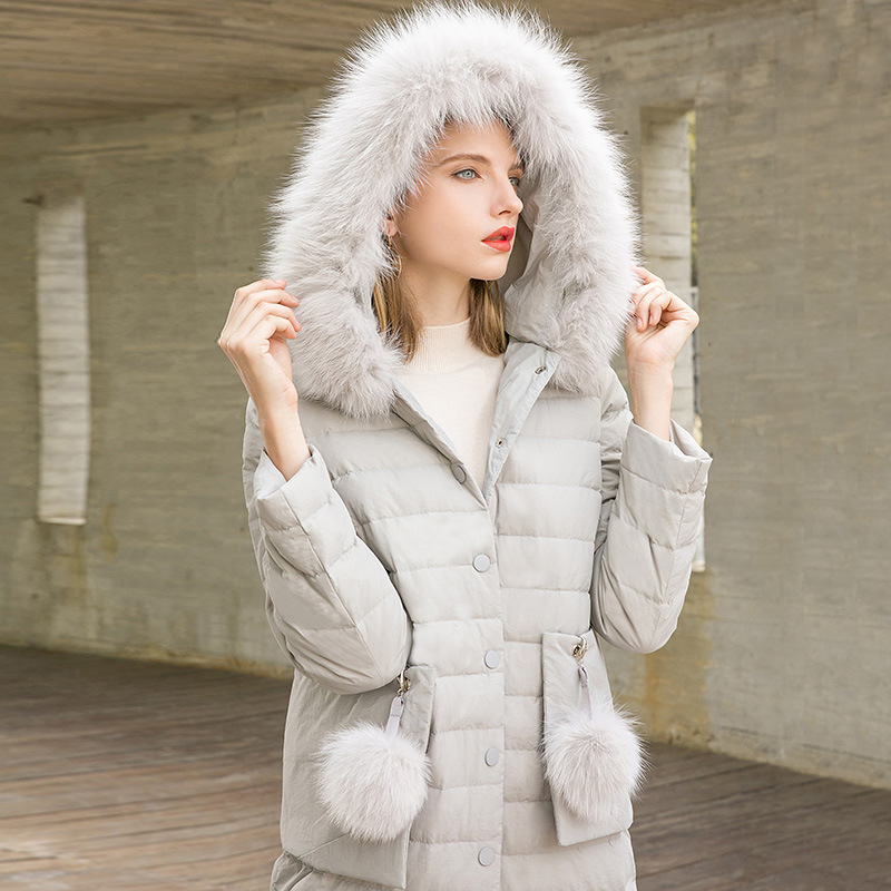 Big fox fur collar hooded single breasted slim straight X-long white duck   down     coats   2018 new women winter thick   down     coats