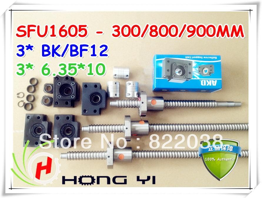 3pcs BALLSCREW sfu1605 - 300/800/900MM &3PCS ballnut & 3pcs bk12 bf12 & 3pcs Couplers 6.35 * 10 цены онлайн