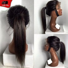 Top selling Full Lace Wig Silky Straight High Ponytail 130density Full Lace Human Hair Wigs With Free Part For African Americans