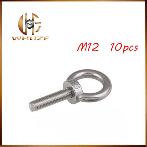 M12*20 304 Stainless Steel Lifting Eye Bolts Round Ring Hook Bolt 10pcs 1pc m5 304 stainless steel chain ratchet tie fasten bolts hook