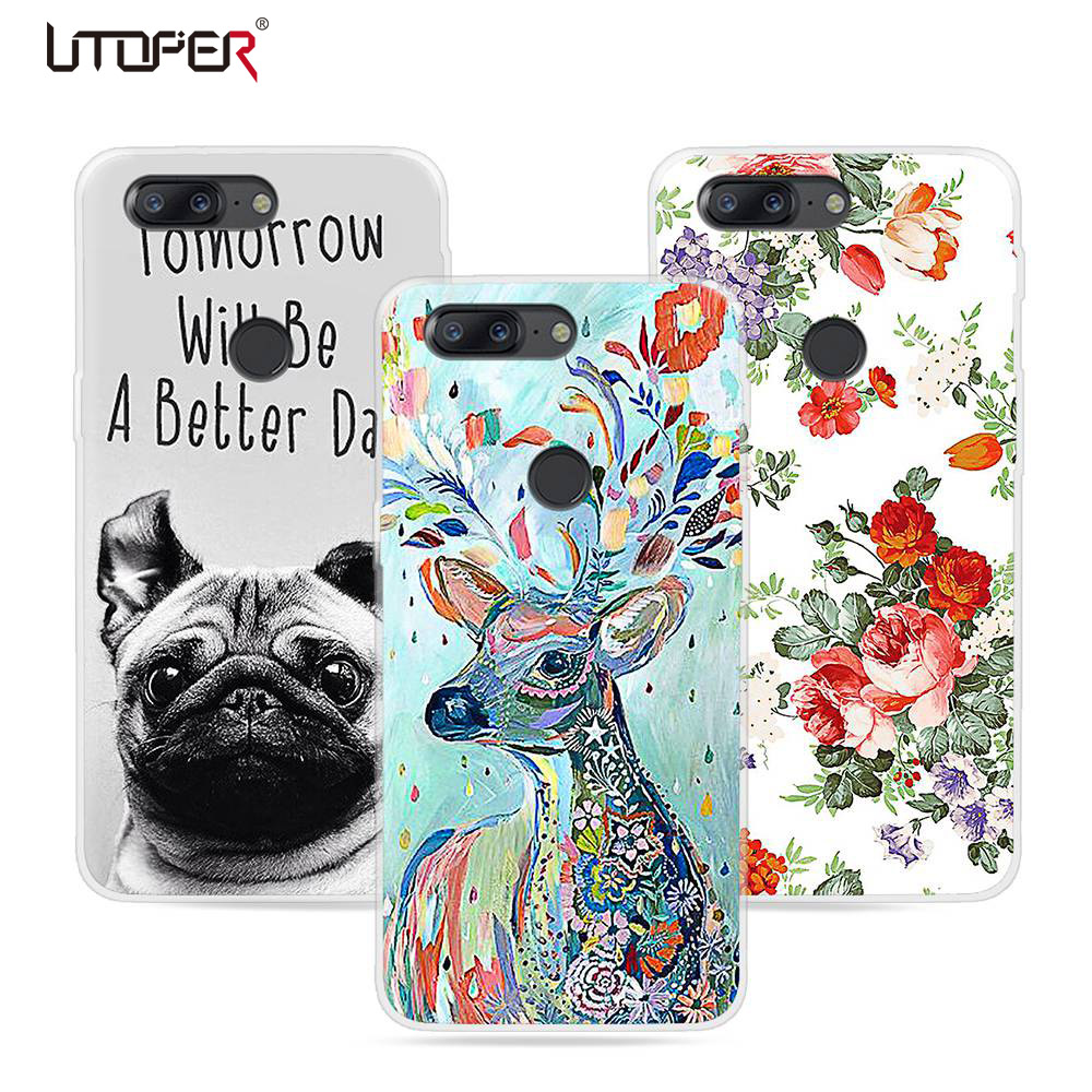 UTOPER For oneplus 5T 5 Case 5 T Cover Flower Dog Cat Printed Silicone Fundas Case For one plus 5T 5 Case Soft Plastic TPU Coque