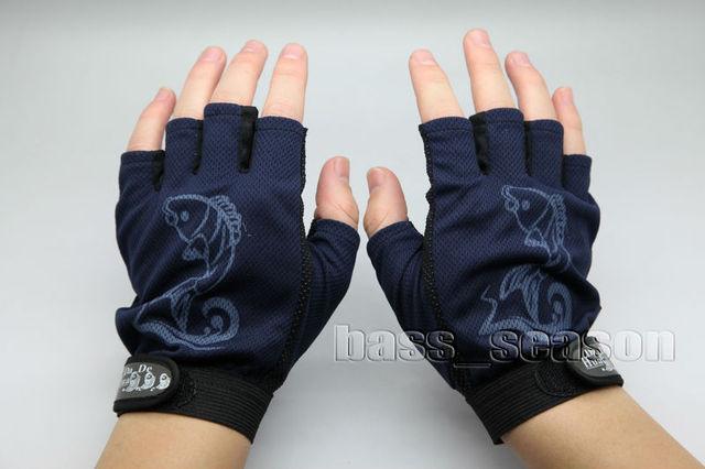 Cheap Popular 1 Pair 5 Cut Fingerless Fishing Gloves Non-Slip Gloves Free Shipping