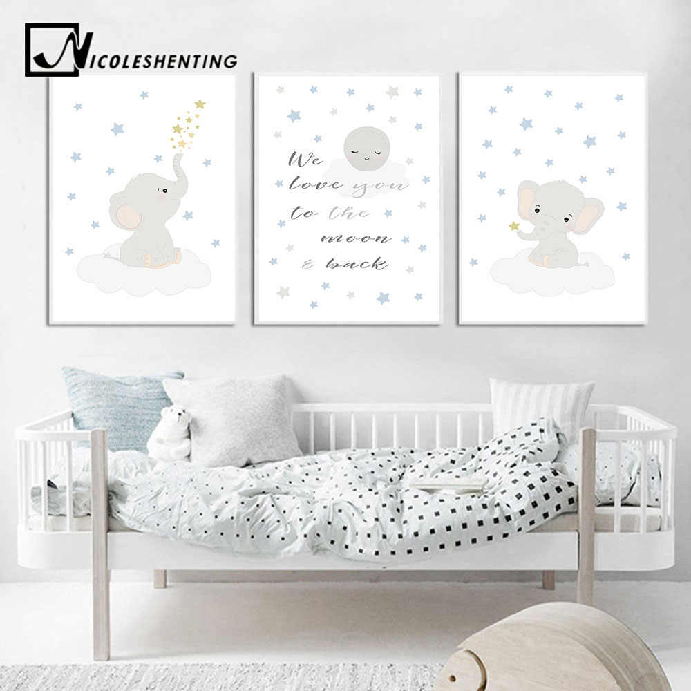 Wall Art Canvas Poster Nursery Quotes Cartoon Animal Elephant Print Painting Decorative Picture Nordic Kid Baby Room Decoration