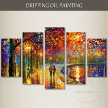 Gifted Artist Hand-painted High Quality Group 5 Pieces Painting Colorful Abstract Landscape Lover Walking Oil