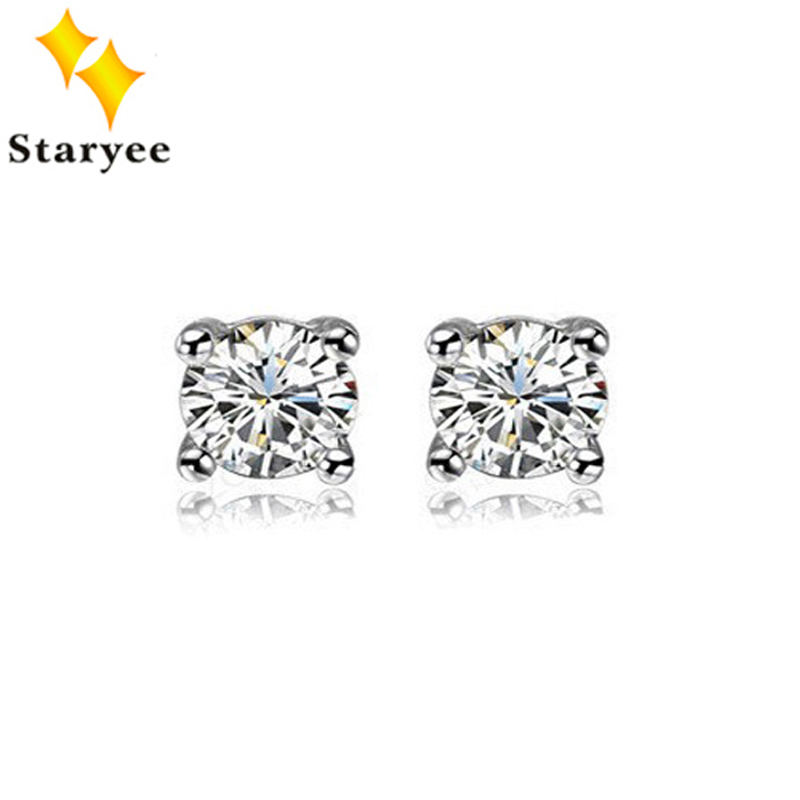Classic 4 Claws Real 14K Solid White Gold One Carat Pair VS D E F Charles Colvard Moissanite Elegant Stud Earrings For Women pair of stylish rhinestone triangle stud earrings for women