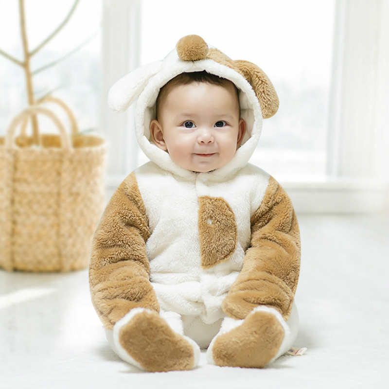 2018 Cute Cartoon Dog Baby Girls Clothes Animal Baby Rompers Costume Winter Clothes For Boys Warm Snowsuit Jumpsuit 2016 winter new soft bottom solid color baby shoes for little boys and girls plus velvet warm baby toddler shoes free shipping