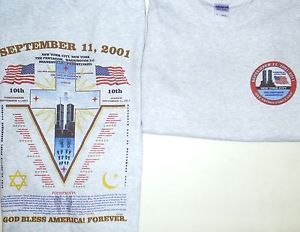 Gorąca sprzedaż mężczyzna T koszula moda 11 września 2001*9/11 * TWIN TOWERS godło 2-dwustronna koszula letnia koszulka