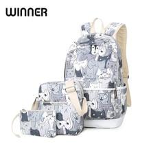 Водонепроницаемый комплект Рюкзаки школьная сумка для подростков Обувь для девочек Packbag с принтом кота Bagpack ноутбук Холст животных рюкзак Для женщин