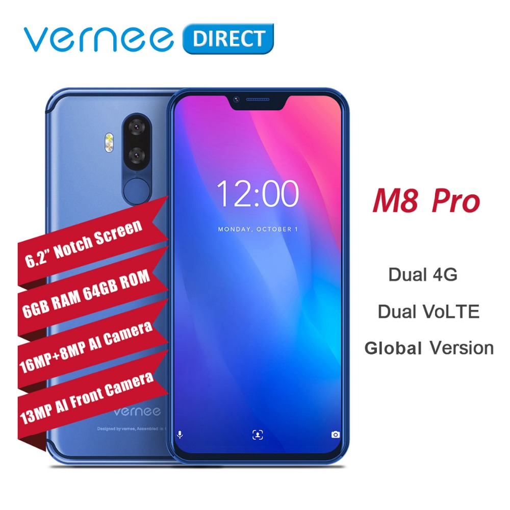 """Vernee M8 Pro Notch Screen Android 8.1 Mobile Phone 6.2"""" Octa Core AI Camera 6GB+64GB 4100mAh Wireless Charge NFC 4G Smartphone"""
