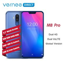 "Vernee M8 Pro Notch Screen Android 8.1 Mobile Phone 6.2"" Octa Core AI Camera 6GB+64GB 4100mAh Wireless Charge NFC 4G Smartphone(China)"