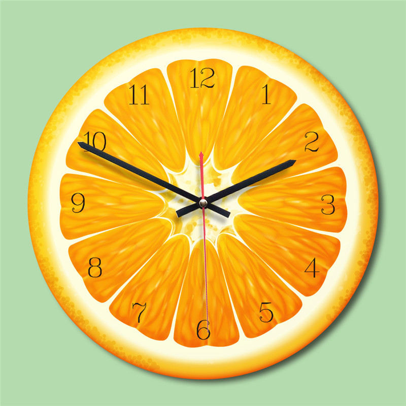 Home Summer Fruit Shape Clock Acrylic European Creative Round Living Room Wall Clock 4 Colors Home Decoration Accessories