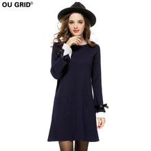 Dark Blue Butterfly Sleeve Knitted Sweater Dress 2017 New Arrival Women Autumn Winter Slim Bow Cuff Long Sleeve Casual Dresses