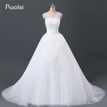 Real Photo Simple Vestido de Novia Puffy V-Neck Ruffle Tulle Ball Gown Wedding Dresses with Crystal Bridal Gown for Wedding FW92