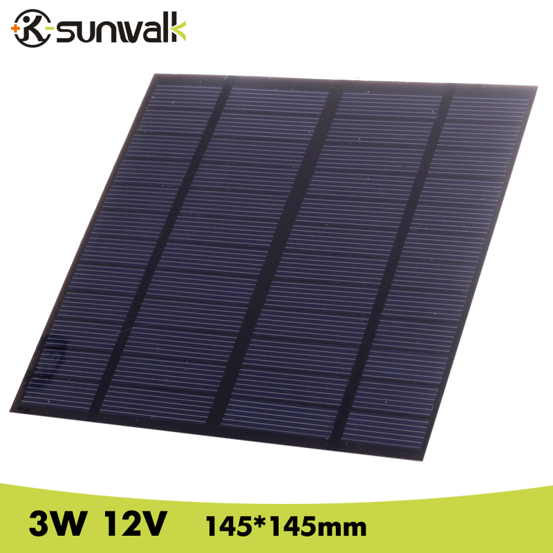 цена на SUNWALK Solar Panel 12V 3W EVA-PET Solar Panel Mini Solar Cell Polycrystalline Silicon Solar DIY Module 145*145mm