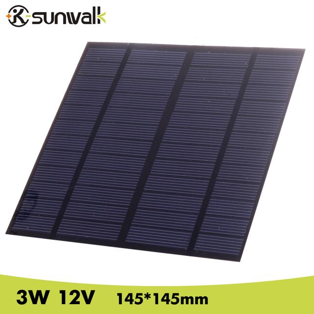 SUNWALK Solar Panel 12V 3W EVA-PET Solar Panel Mini Solar Cell Polycrystalline Silicon Solar DIY Module 145*145mm