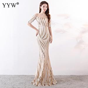 Image 5 - Crystal O Neck Striped Sequined Mermaid Long Dresses Elegant Half Sleeve Illusion Backless Party Formal Gowns Ladies Maxi Dress